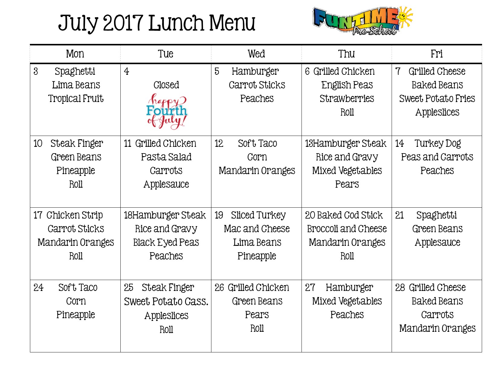 July 2017 Lunch