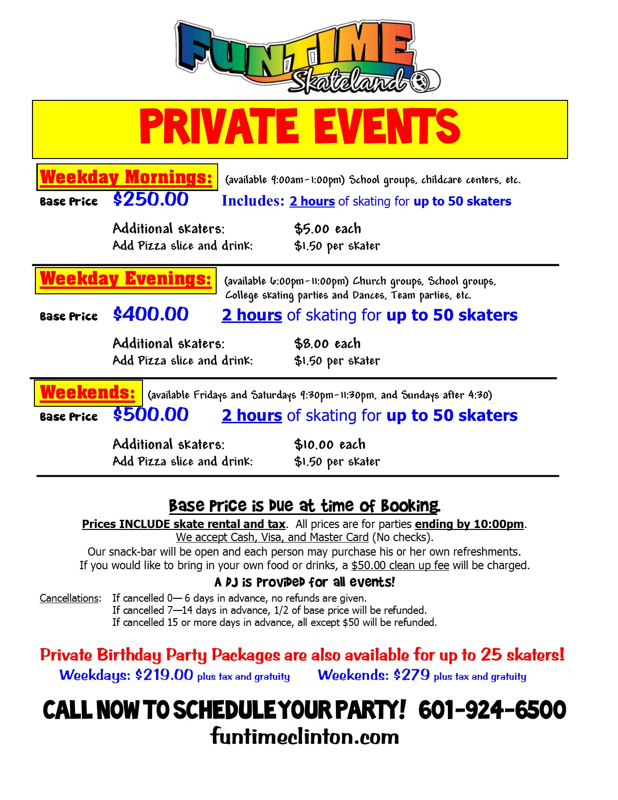 Private parties Flyer 2018