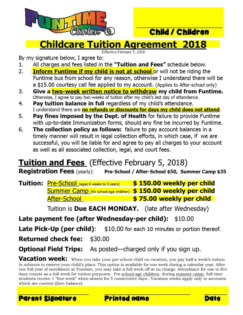 Tuition Agreement 2018